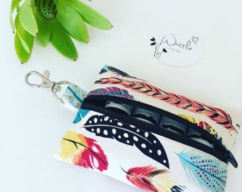 Feather Essential Oil Keyring - Essential Oil Pouch - Essential Oil Purse - Essential Oil Clutch