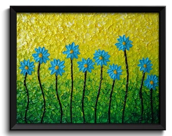 Blue Daisy Flowers Art Painting Fine Art Print Daisies Modern Abstract Blue Yellow Lime Green Wall Decor Bedroom Bathroom Living Room Poster