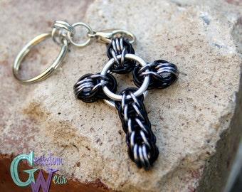 Handmade Chainmaille Cross Keychain