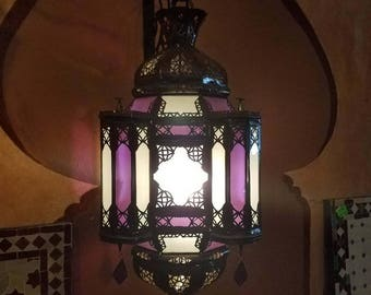 Moroccan Handmade Metal Lantern - Purple / Frosty White Glass