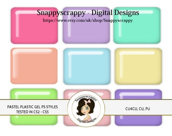 CU4CU, Photoshop Styles, PS Styles, Photoshop, Digital PS Styles, Commercial Use, Instant Download,  Pastel Plastic Gel PS Styles