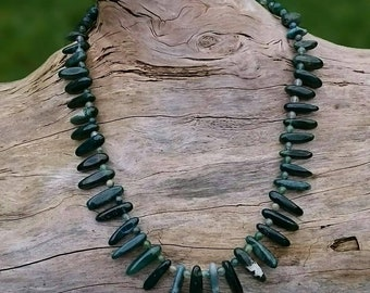 Green Moss Agate Crystal Necklace