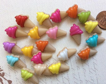 SET of 10 Yummy Ice Cream Cone Shank/ Hoop Buttons
