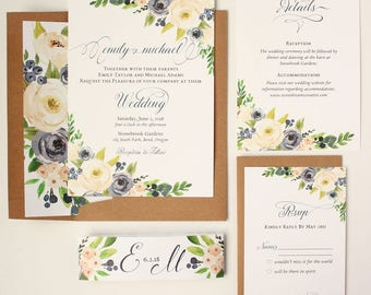 Rustic Floral Wedding Invitations - Navy and White - Wedding Invitations - Navy and White Blooms Collection Deposit