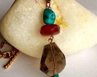 Smokey quartz and turquoise pendant
