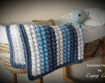 CROCHET PATTERN for Baby Bobble Blanket / Afghan for Pram