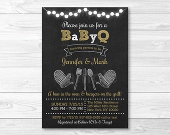 BBQ Baby Shower Invitation / BaByQ Baby Shower Invitation / BBQ Baby Shower Invite / Chalkboard Invite / Coed Shower / PRINTABLE A275