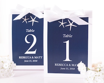 Beach Wedding Table Number Tent Cards - Beach Wedding Table Markers - Beach Wedding Decor - Starfish Wedding Table Centerpiece - #wtn-162