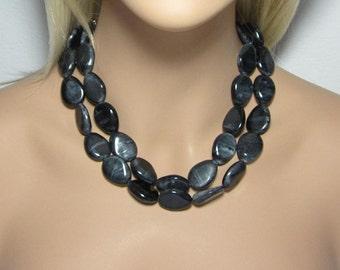 Black Necklace, Lightweight Acrylic, Teardrop Beaded, Statement Jewelry, Double Strand