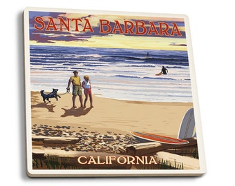 Santa Barbara, CA - Beach & Sunset - LP Artwork (Set of 4 Ceramic Coasters)