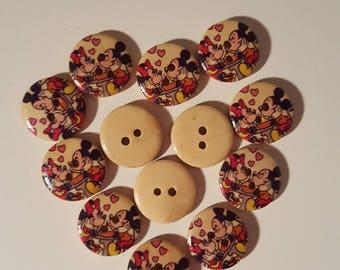 Set of 10 Mickey foam wooden buttons