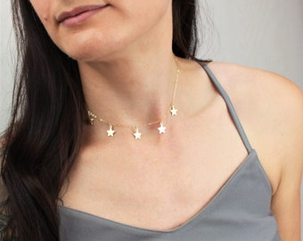 Gold Choker Star Necklace, The Silver Wren, Dainty Choker Necklace, Necklaces for Women, Star Choker, Choker, Layer Necklace, Gold Necklace