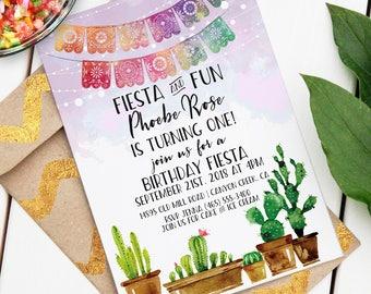 Mexican Fiesta Invitation | Custom Fiesta Event Invite | Editable Invitation | Watercolor Cactus | Fiesta Birthday | Instant Download