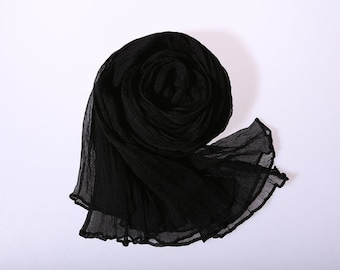 Beautiful silk scarf, high quality Crinkle silk GGT scarf, black, perfect Christmas gift, wedding gift, birthday gift for girl friend.