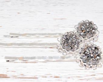 Bobby Pins - Dark Silver - Wedding Hair Pins - Druzy