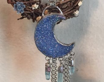 Druzy Crescent Moon with Chain and Aquamarine Dangles Pendant Necklace
