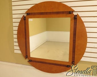 39433E: Round Biedermeier Style Large Satinwood Designer Mirror
