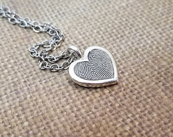 INK-1 SMALL framed DOUBLE sided (2) Fingerprint Heart Necklace in solid Fine .999 Silver-includes chain