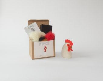 Hen Needle Felting Kit. Felting Kit. Felt Craft Kit. DIY Needle Felting. Craft Gift. Make Your Own Animal Kit. Hen Felting Kit.