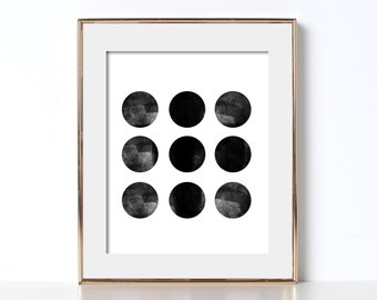 Poster Ideas Art Poster Idea Digital Download Circle Shape Black and White Prints Art Poster Bathroom Prints Bathroom Poster Art Printable