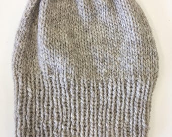Gorgeous oatmeal undyed sheeps wool slouchy beanie made from New Zealand wool