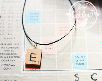 Initial Necklace Wooden Scrabble Tile Pendant Personalised ANY LETTER