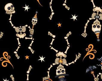 Skeleton Fabric Halloween Fabric Creepy Hollow Black From Quilting Treasures 100% Cotton