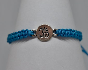 Ohm/Om Silver Charm Macrame Bracelet - Blue