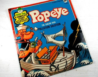 Vintage Children's Record, Popeye The Sailor Man, Pollution Solution, Story With Songs, Sound Effects, 45 RPM, Retro Child's Record (819-15)
