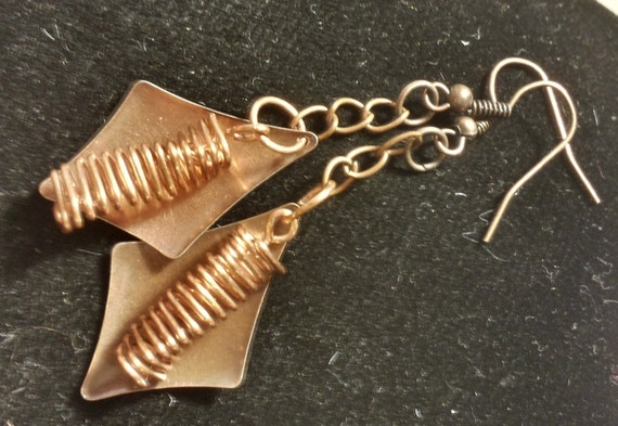 Copper diamond and coil earrings
