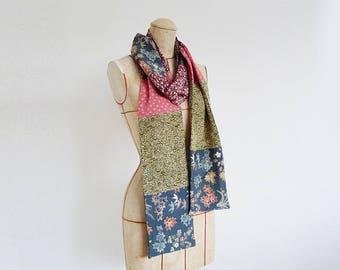 Silk scarf, kimono fabric, vintage Japanese silk kimono fabric, decorative scarf