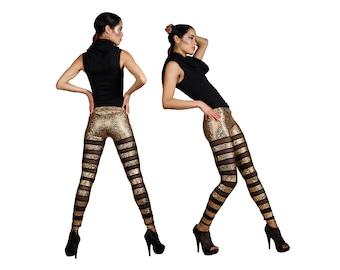 Stripe Leggings; Gold & Black Mesh, Holographic Clothing, Dancewear, Stage Wear, Aerial Silks, Burning Man Leggings, Ravewear, by LENA QUIST