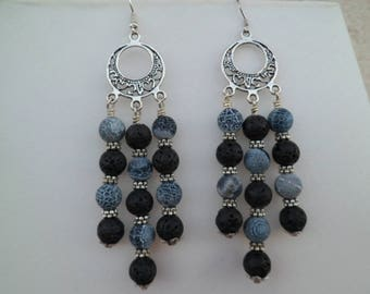 Earrings and lava stones