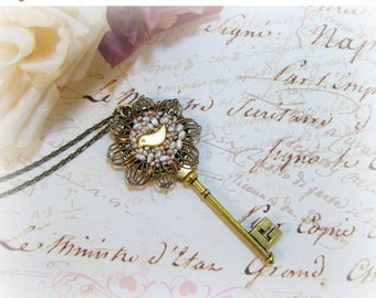 Skeleton Key Necklace With Tiny Golden Bird Vintage Seed Pearls