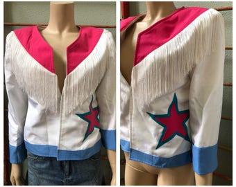 Fun Fringe square dance western bolero jacket top with star / medium