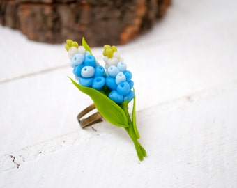 Blue ring flower Muscari Blue flower ring Grape hyacinth Unique rings Flower jewellery Botanical jewelry Floral ring Delicate jewelry rings