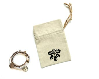 Linen fabric bag, drawstring pouch, jewelry gift bag, stenciled acorns, cloth favor bag, happy birthday gift bag