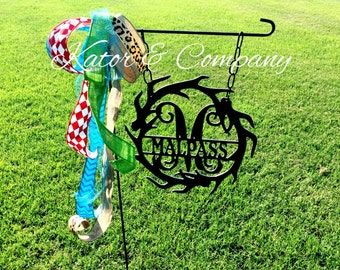 Metal Garden Flag sign~~Antler Garden Flag~~Hanging~~Metal Sign~~Personalized~~Wedding Gift~~Housewarming Gift
