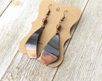 Long Dangle Drop Earrings , Copper Ombré Earrings