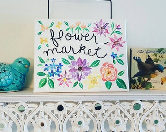 Acrylic painting on 8x10 inch canvas - Flower Market