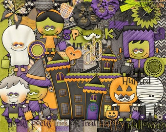 30%Off Happy Halloween Digital Scrapbooking Kit,Trick or treat Cliparts
