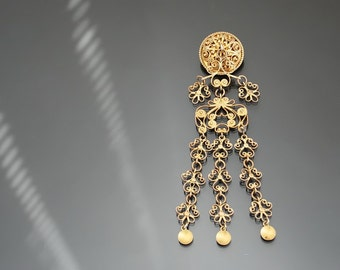 "Antique 5"" Solje DAVID ANDERSEN Brooch. Norway Wedding 830 Silver Filigree Gilt, Arts And Crafts"