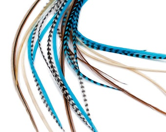 Real Feather Hair Extensions : Aqua Naturals