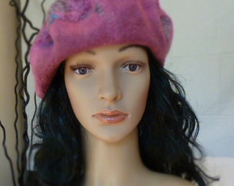 SALE,  DISCOUNT,  Sales, felted beret, classic  and elegant, soft  and  light, warm and durable, handmade  hat, handmade beret