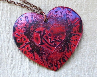 Kiss Necklace - Etched Copper Pendant - Red and Black