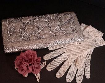 Silver Beaded Evening Bag, Silver Clutch, Small  Handbag, Vintage Evening Bag, Gifts Under 50