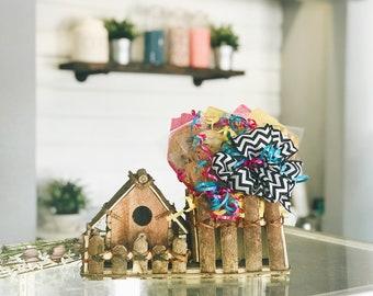 Wooden Birdhouse Cookie Bouquet