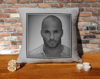 Ricky Whittle Pillow Cushion - 16x16in - Grey