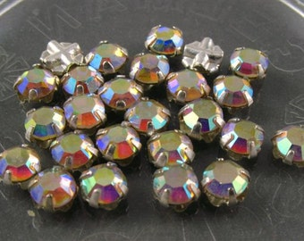 Vintage 4mm Rose Montee 2 hole sew ons - Sparkly Crystal AB/ Silver Setting