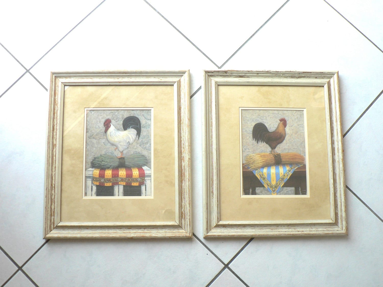 Pair of Framed Rooster Prints Country Kitchen Wall Decor